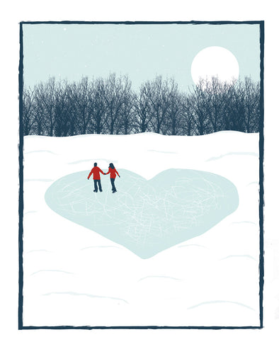 Ice Skaters in Love Print