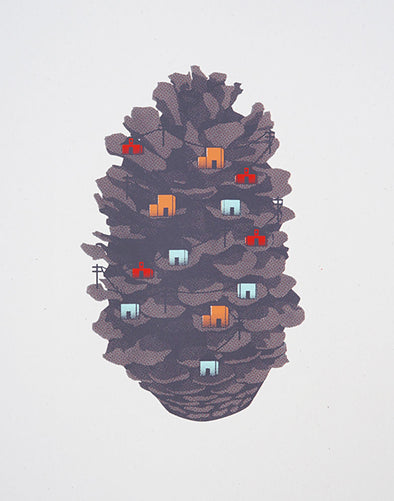 Pinecone Village Screen Print
