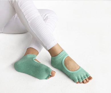 Toeless Non- Slip Grip Socks - Mint sparkle
