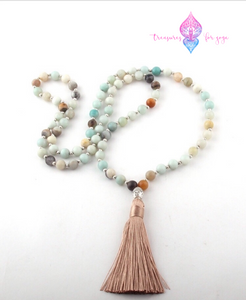 Amazonite Stone Buddha Mala Bead Necklace