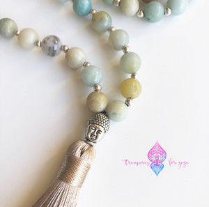 Amazonite Stone Buddha Mala Necklace