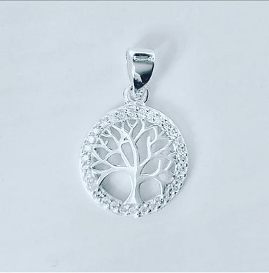 Stirling Silver Tree of Life Cubic Zirconia Pendant