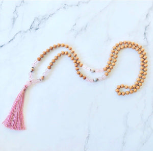 Rose Quartz and Maple Wooden Mala bead Necklace