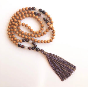 Tiger Eye and Maple Wooden Mala Necklace