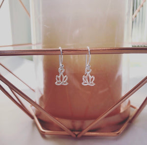 Small Hanging Stirling Silver Lotus Earings