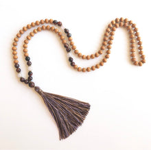 Load image into Gallery viewer, Tiger Eye and Maple Wooden Mala Necklace