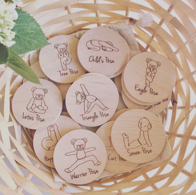 Meddy Teddy kids yoga wooden disc game set
