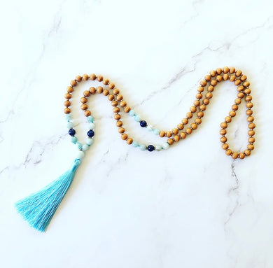 Blue Jade and Maple Wooden Mala Bead Necklace