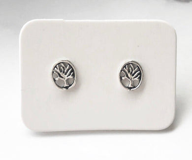 Small Round Stirling Silver Tree of Life Earings