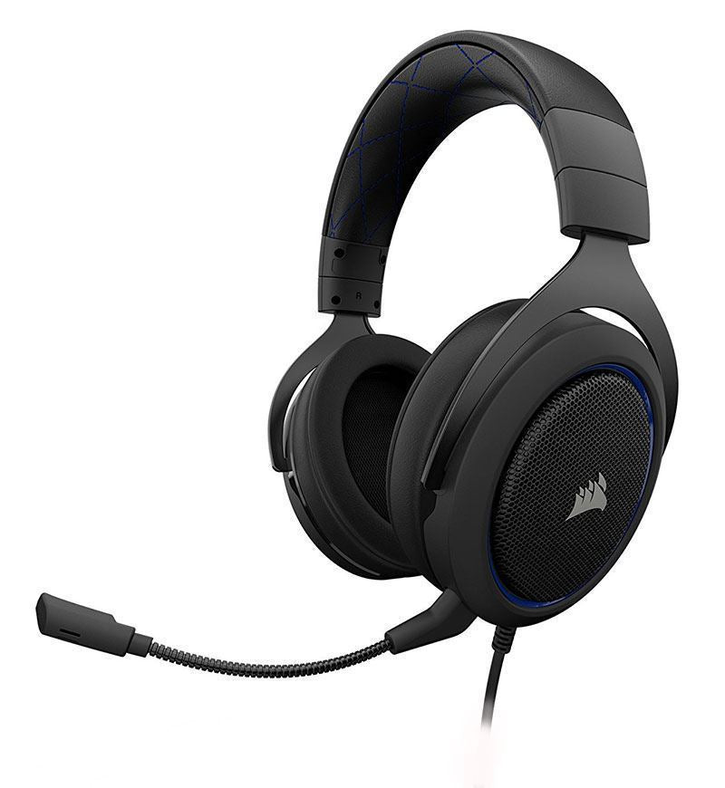Corsair Gaming HS50 Stereo Headset — 3.5mm Jack — Blue — PC/Console/Mobile