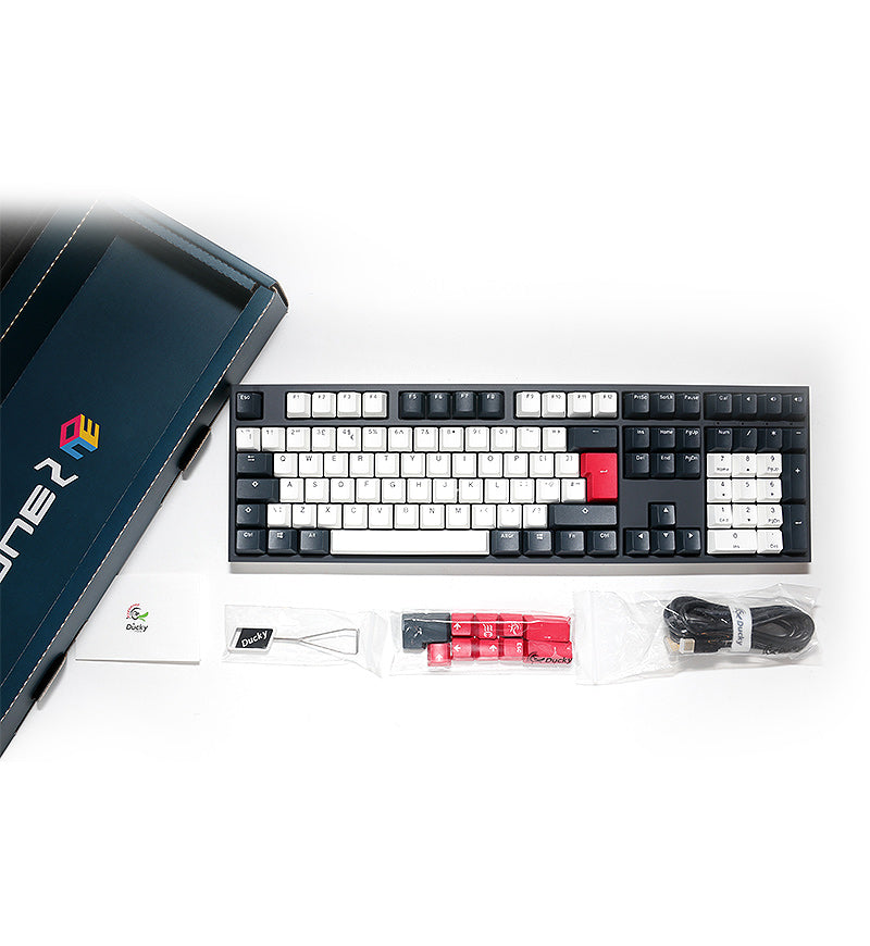 Ducky One 2 Tuxedo Non-Backlit Mechanical Keyboard - Cherry MX Silent Red Switches
