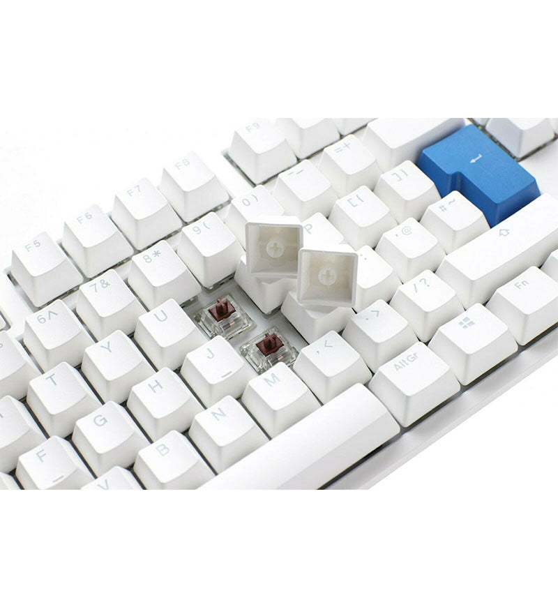 Ducky One 2 TKL Pure White RGB Mechanical Keyboard - Cherry MX Red Switches