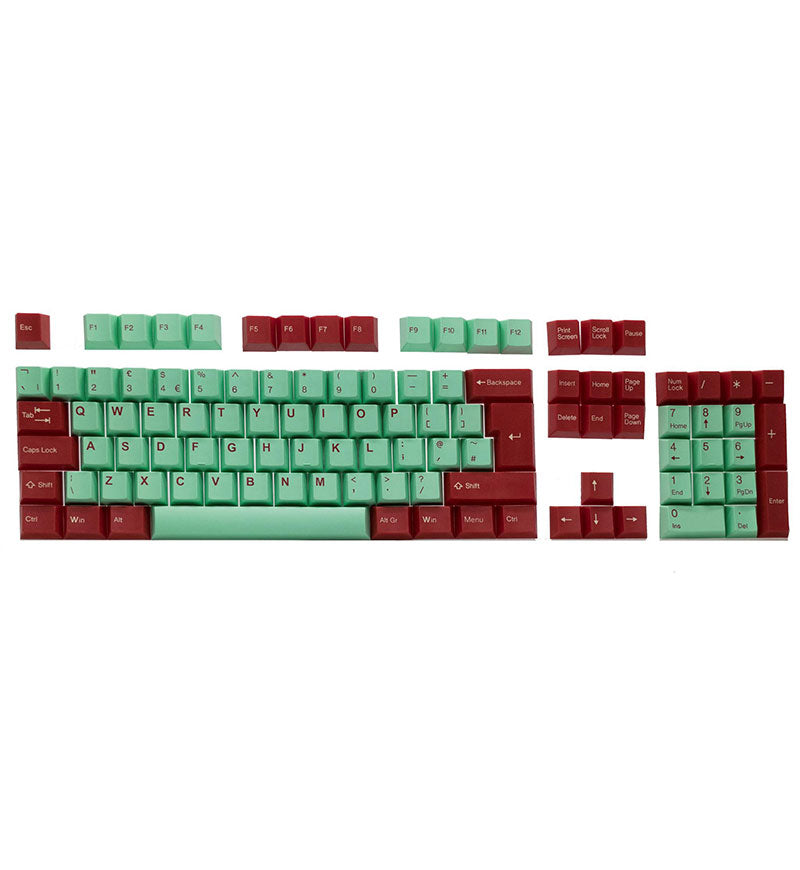 Tai-Hao Juke Box Cubic ABS DoubleShot UK ISO Keycaps - Mint/Red