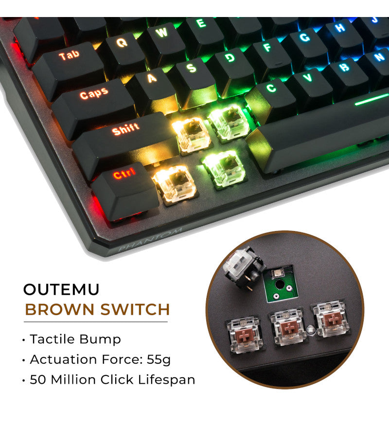 Tecware Phantom 88 TKL RGB Mechanical Keyboard - Outemu Brown Switches