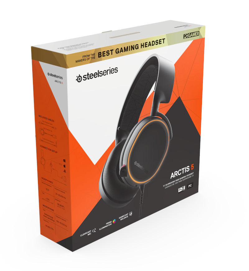 SteelSeries Arctis 5 RGB 7.1 Surround Headset [Latest 2019 Edition] - Black - 3.5mm Jack