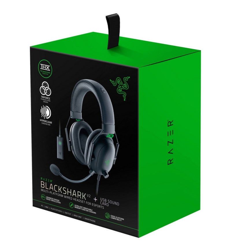 Razer Blackshark V2 THX Spatial Headset - 3.5mm Jack/USB - Black