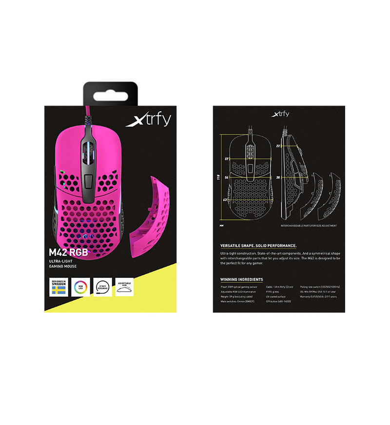 Xtrfy M42 RGB 59g Ultralight Gaming Mouse - Pink