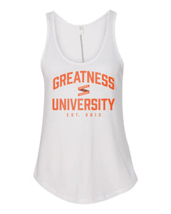 Women's White Greatness University Tank