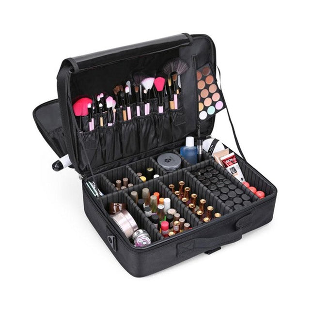 Makeup Train Case used by Makeup Artist / Adjustable Dividers Cosmetic bag