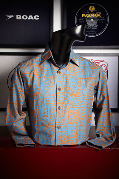 Blue Hawain Print Shirt