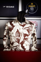 Brown with White Hibiscus Shirt