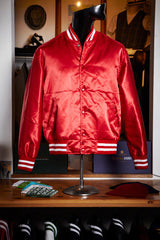 Red Silk Varsity Jacket