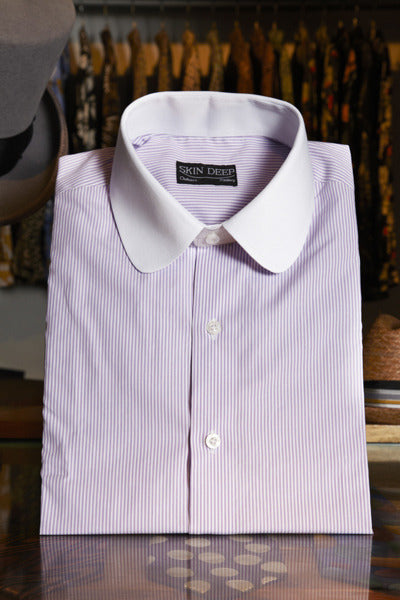 Round Collar Lilac Stripe