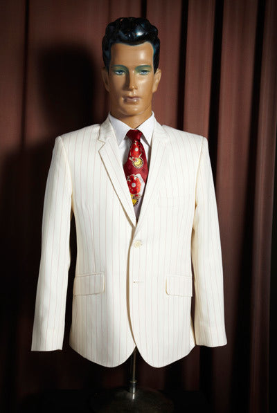 White with Red Pin Stripe Suit