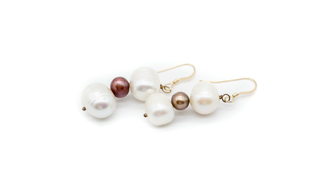 Red and White Lombok Pearl Earrings