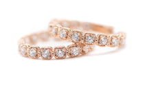 Load image into Gallery viewer, Rose Gold Solitaire Hoop Earrings