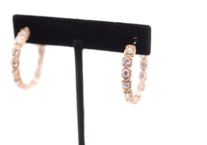 Rose Gold Solitaire Hoop Earrings