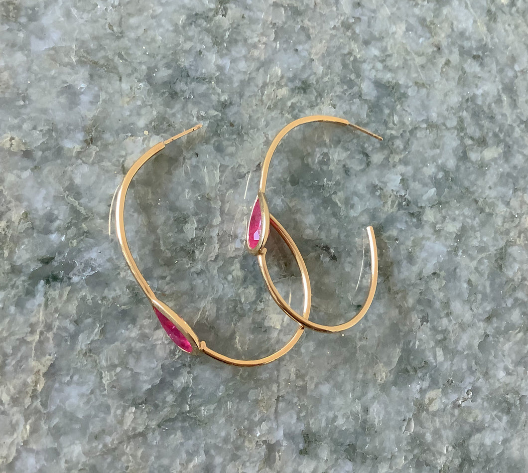 Sarita Ruby and Gold Hoops