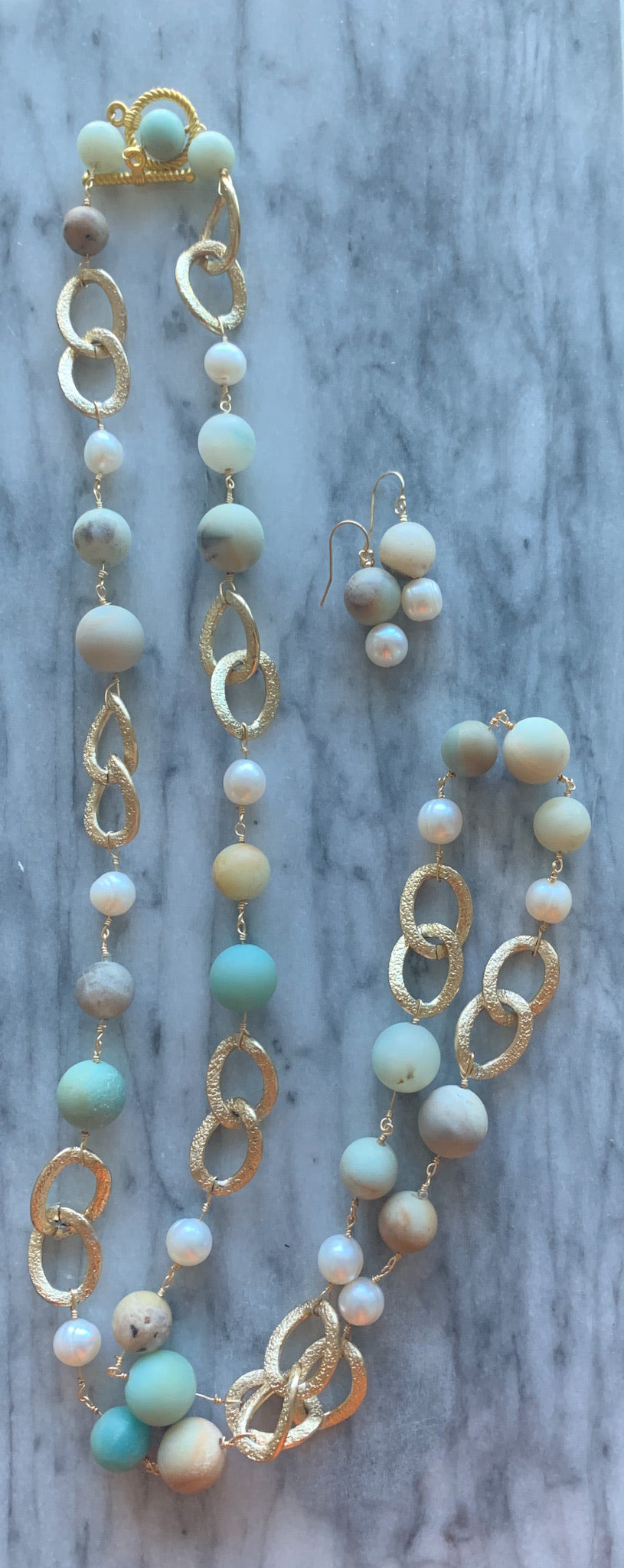 Adventurine and Pearl Earrings (Earrings Only)