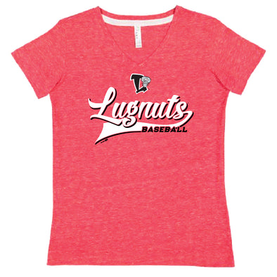 Lansing Lugnuts Ladies V-Neck Melange T-shirt