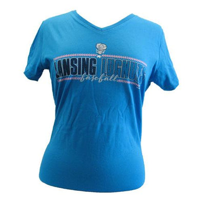 Lansing Lugnuts Ladies V-Neck T-shirt - Cobalt