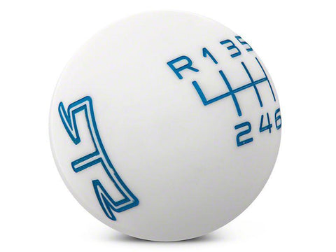 RTR White Shift Knob - Blue Engraving (11-14 GT, V6) - RTR Vehicles