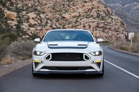 Mustang RTR Upper & Lower Grille w/ Lights Combo & Front Chin Splitter Bundle