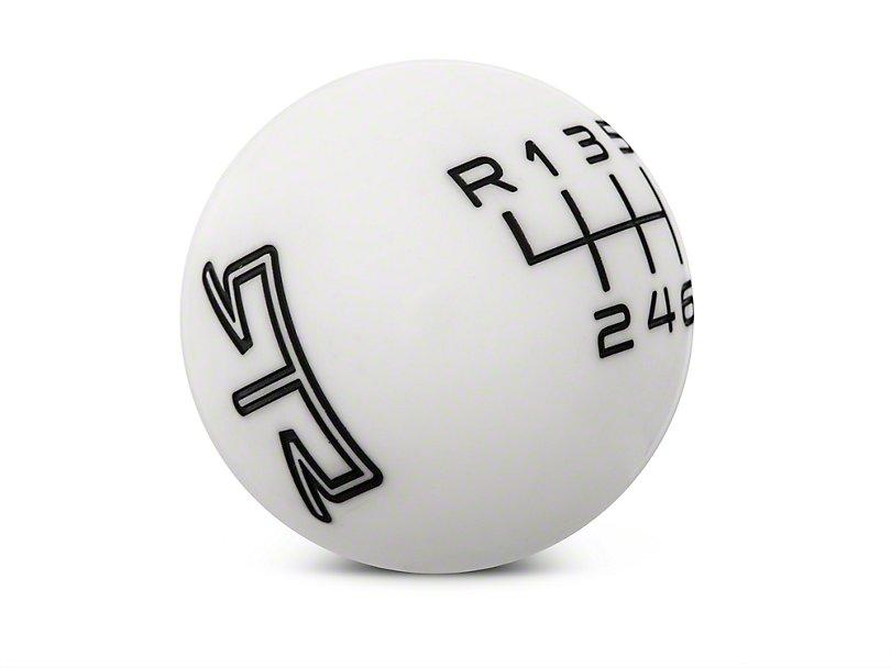 RTR White Shift Knob - Black Engraving (15-21 Mustang - GT, EcoBoost, V6) - RTR Vehicles