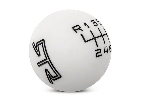 RTR White Shift Knob - Black Engraving (15-19 GT, EcoBoost, V6)