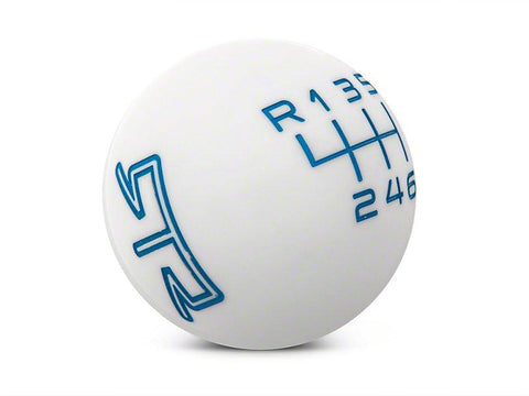 RTR White Shift Knob - Blue Engraving (15-21 Mustang - GT, EcoBoost, V6) - RTR Vehicles