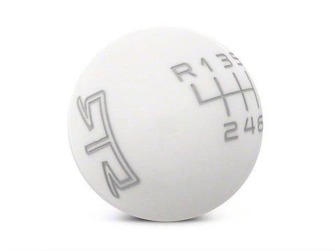 RTR White Shift Knob - Gray Engraving (15-19 GT, EcoBoost, V6)