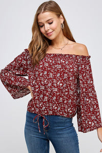 Floral Off Shoulder Drawstring Waist
