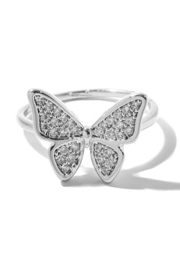 Studded Butterfly Metallic Band Ring