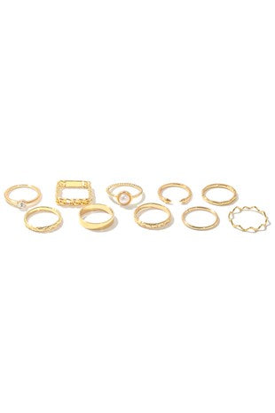 Assorted Metallic Band Rings Set