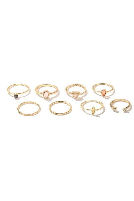 8 Piece Mixed Metallic Band Rings