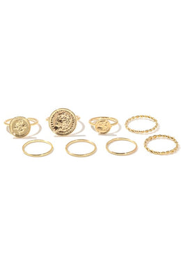 Coin Charms Metallic Band Rings