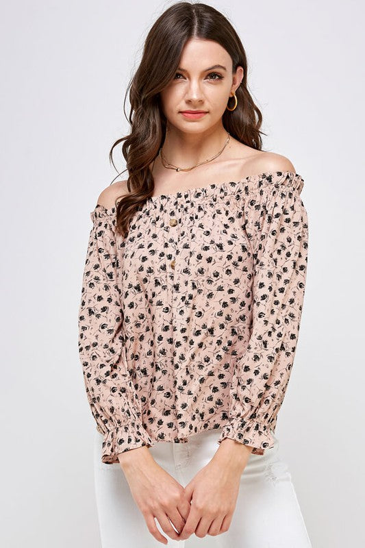 Blush Floral Off Shoulder Top