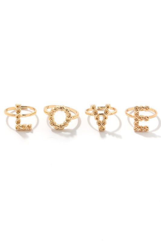 Textured LOVE Multi Ring Set