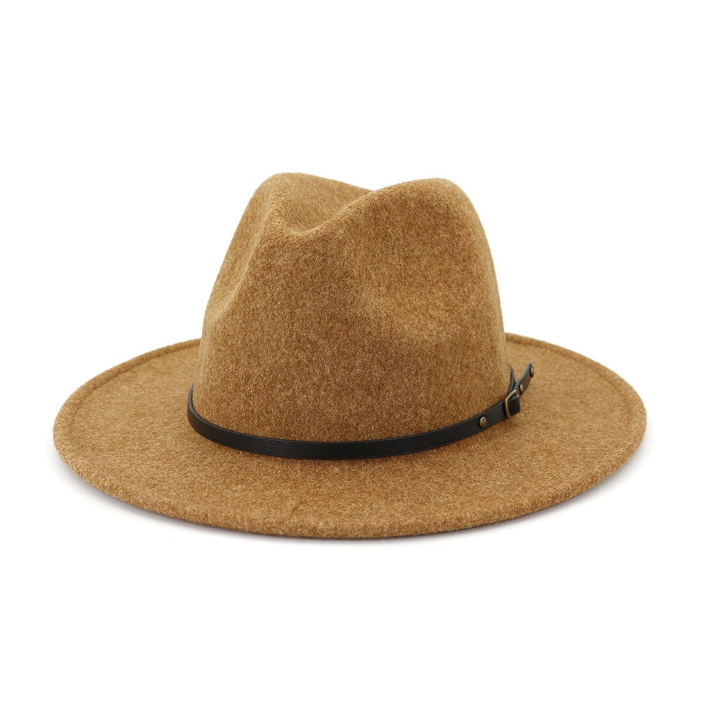 Khaki colored fedora with leather belt detail