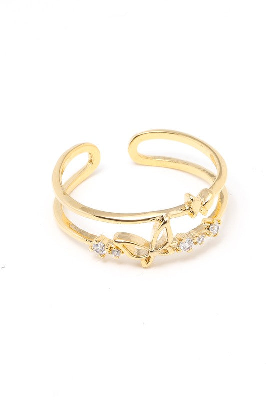 Gold Open Butterfly Ring